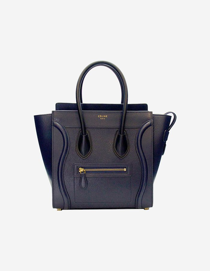 655f9a4ed234 Rent Celine Micro Luggage Handbag in Midnight Navy Blue Bullhide Leather w   Gold