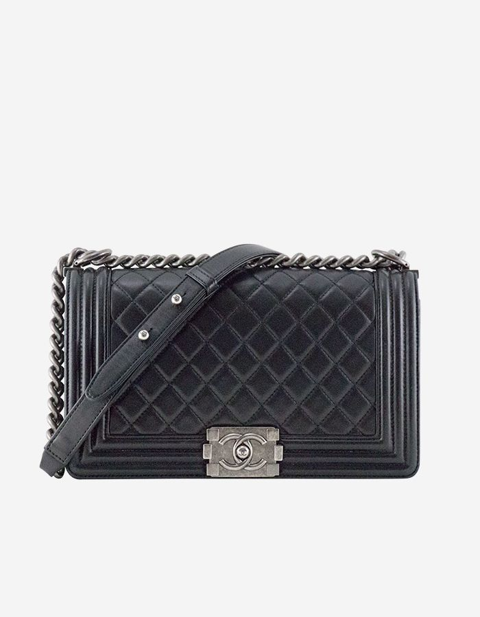 9e76919a0f0500 Rent Boy Chanel in Black Lambskin & Ruthenium Hardware | BAGROMANCE.COM