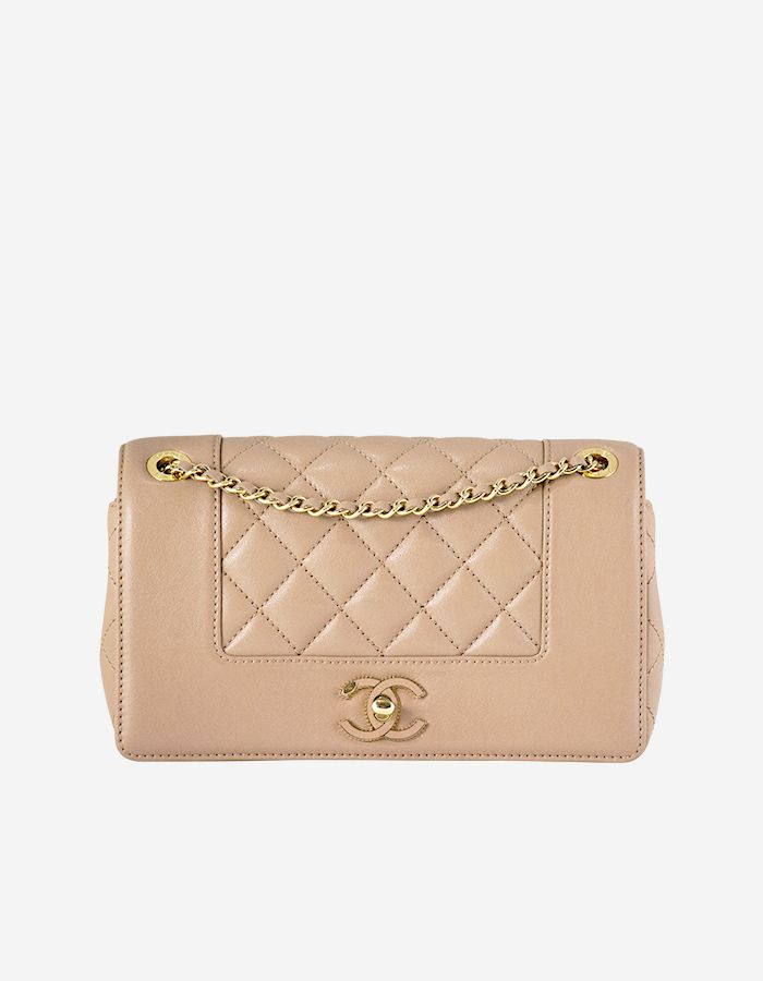b0666b62ece4 Rent Chanel Mademoiselle Vintage Small Flap Bag in Soft Beige Sheepskin  with Gold | BAGROMANCE.COM