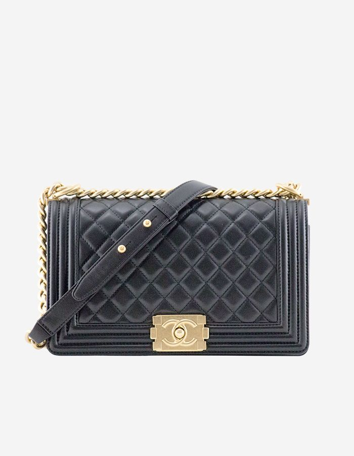 Rent Boy Chanel Handbag in Black Lambskin   Gold-Tone Metal ... b4270cb5695db