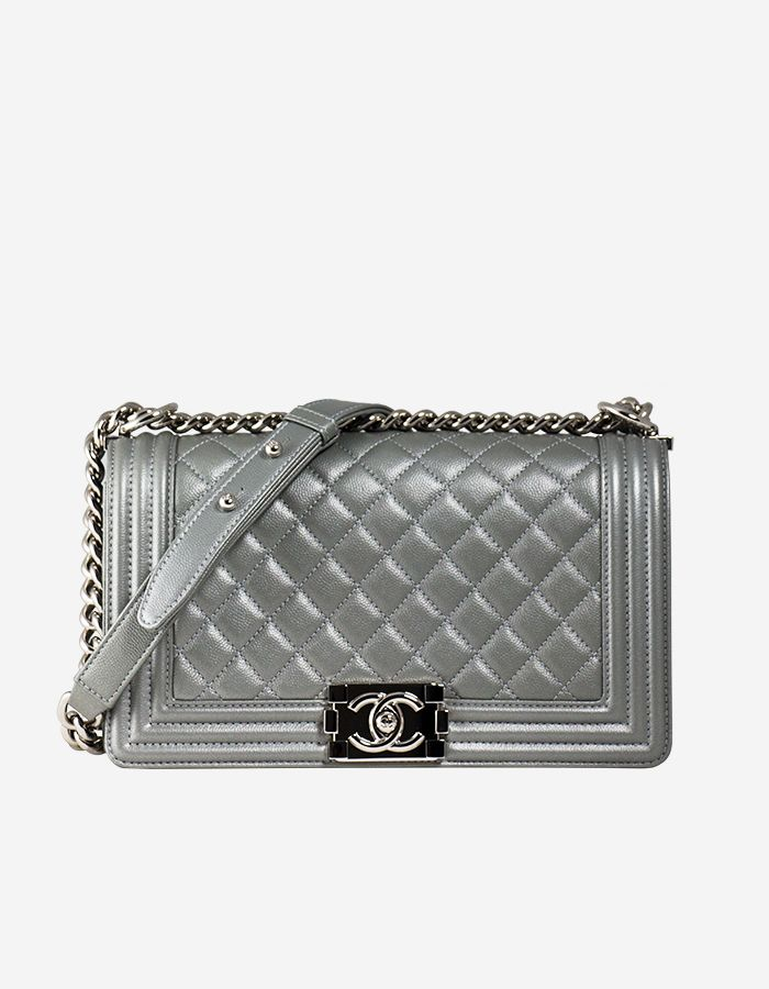 Rent Boy Chanel Handbag Iridescent Silver Lambskin   Silver-Tone Hardware  bf1d379554a09
