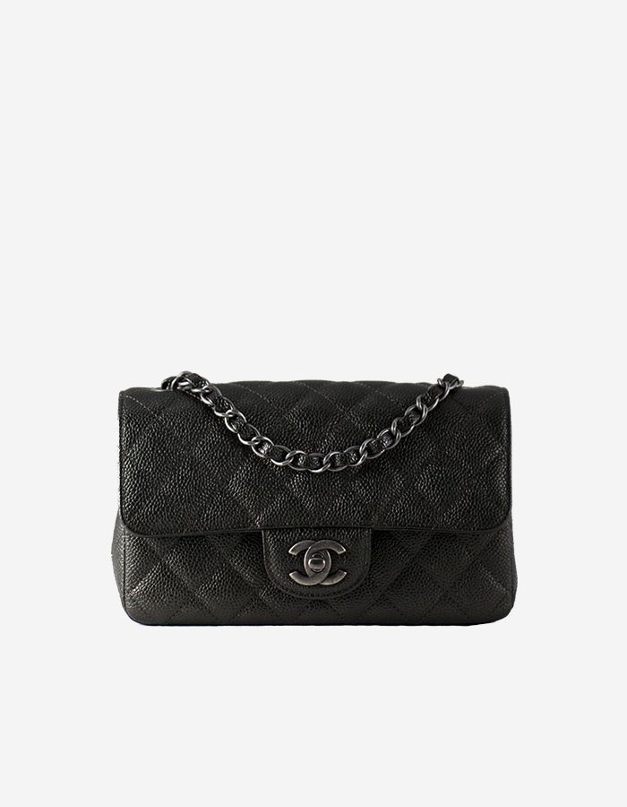 9f2b56c6d079 Rent Chanel Classic Small Flap Bag in Dark Charcoal with Silver ...
