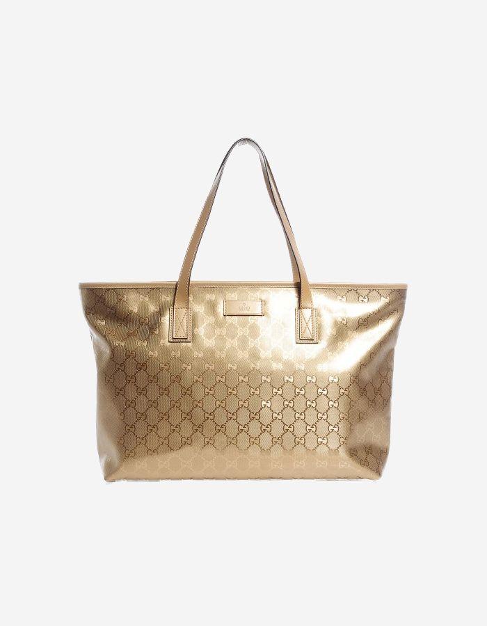 6867c4b3b27564 Buy Gucci Imprimé Monogram Tote Medium Champagne | BAGROMANCE.COM