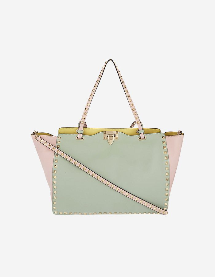 5b40a6778d0 Buy Valentino Rockstud Small Leather Trapeze Bag in Multicolor Pastel |  BAGROMANCE.COM