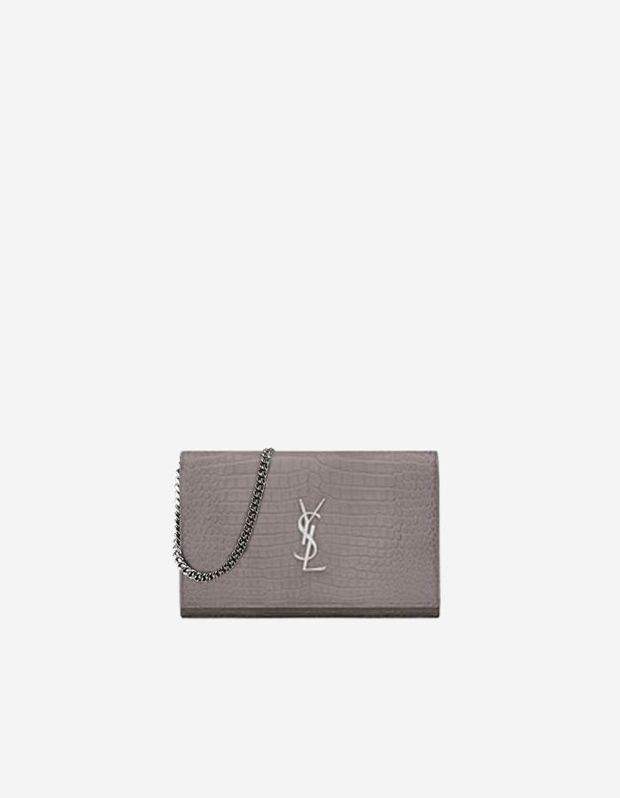 64e509b10b Rent Saint Laurent Monogram Chain Wallet in Fog Crocodile Embossed ...